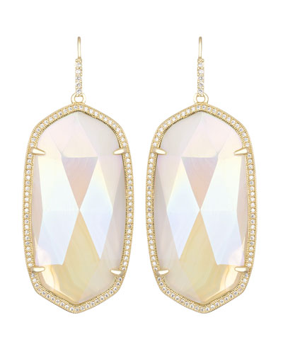 Kendra Scott Large Pave-Trim Iridescent Agate Drop Earrings