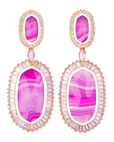 Kendra Scott Baguette-Trim Oval Drop Earrings, Pink Agate
