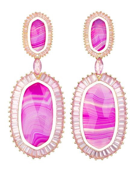 Baguette-Trim Oval Drop Earrings, Pink Agate