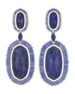 Kendra Scott Luxe Baguette-Trim Oval Drop Earrings, Lapis