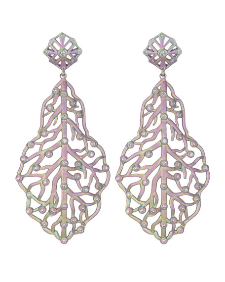 Iridescent Rhodium Branch Earrings