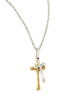 Waxing Poetic Freedom Cross Double Pendant Necklace