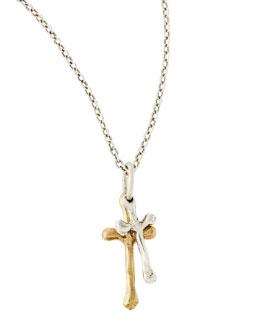 Waxing Poetic Freedom Cross Double Pendant Necklace