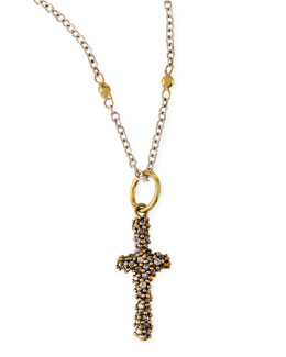 Waxing Poetic Crystal Studded Dedalion Cross Charm Necklace