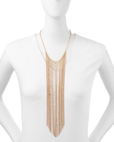 Long Golden Chain Fringe Necklace