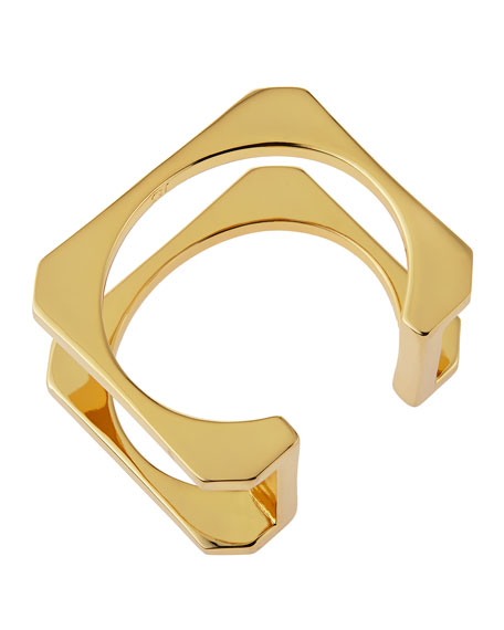 14K Gold Plated Double Bar Cuff Bracelet