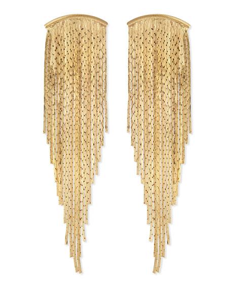Textured Golden Bar Fringe Earrings