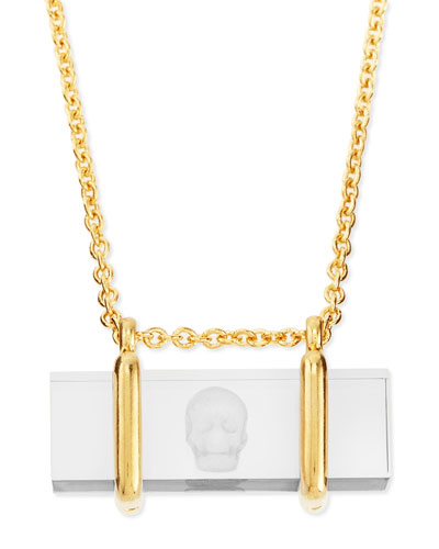 Alexander McQueen Skull-Etched Acrylic Pendant Necklace