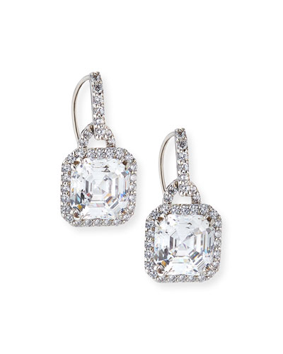 3.5ct Asscher Cut Cubic Zirconia Earrings