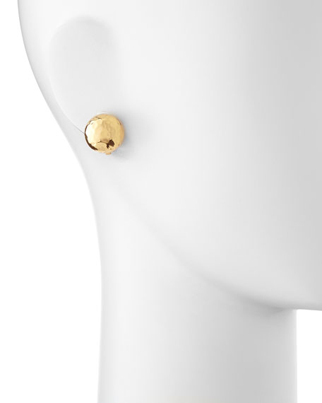 Clip-On Hammered Gold-Plated Half-Ball Stud Earrings