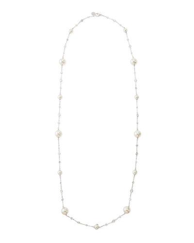 Pearl & Cubic Zirconia Silver Necklace