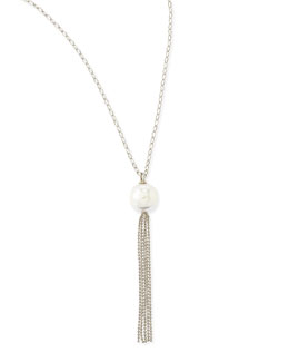 Majorica 16mm Pearl Silver Tassel Necklace