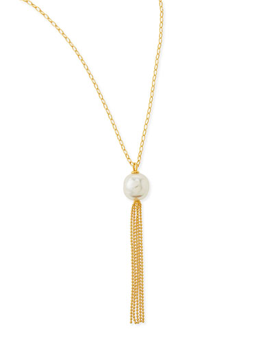 Majorica 16mm Pearl Gold Vermeil Tassel Necklace