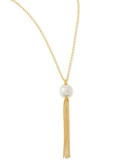 Majorica 16mm Pearl Gold Vermeil Tassel Necklace