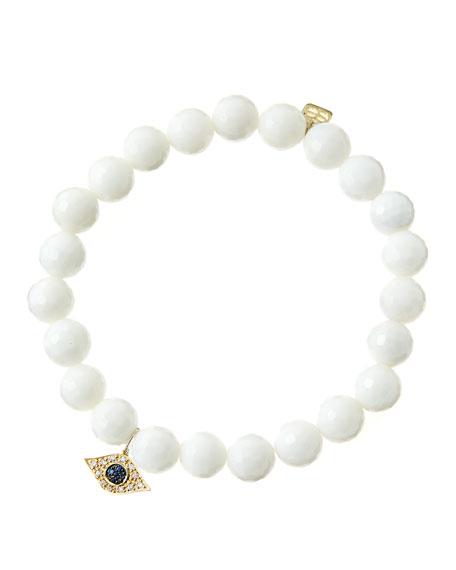 Sydney Evan 8mm Faceted White Agate Beaded Bracelet