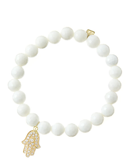 8mm Faceted White Agate Beaded Bracelet with 14k Yellow Gold/Diamond Medium Hamsa Charm (Made to Order)