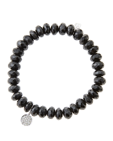 8mm Faceted Black Spinel Beaded Bracelet with Mini