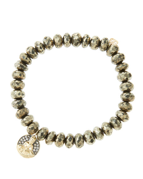 8mm Faceted Champagne Pyrite Beaded Bracelet with 14k Gold/Diamond Sitting Buddha Charm