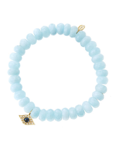 8mm Faceted Aquamarine Beaded Bracelet with 14k Yellow Gold/Diamond Small Evil Eye Charm (Made to Order)
