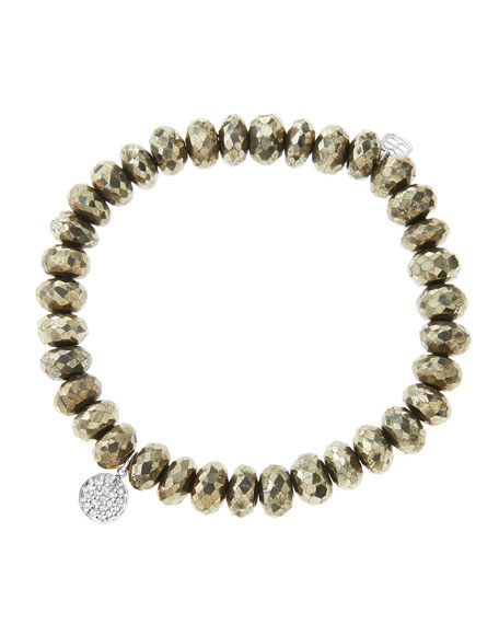 Sydney Evan8mm Faceted Champagne Pyrite Beaded Bracelet with