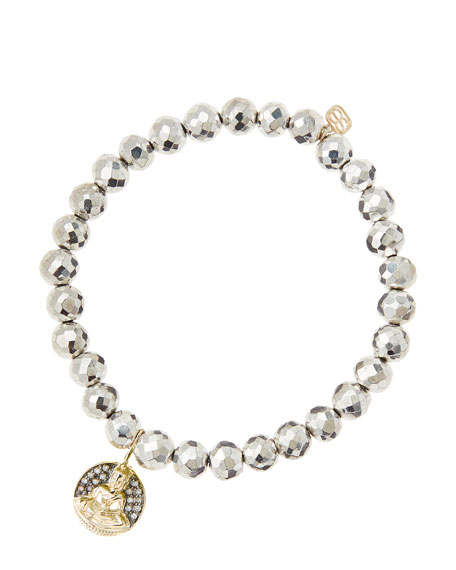 Sydney Evan6mm Faceted Silver Pyrite Beaded Bracelet with