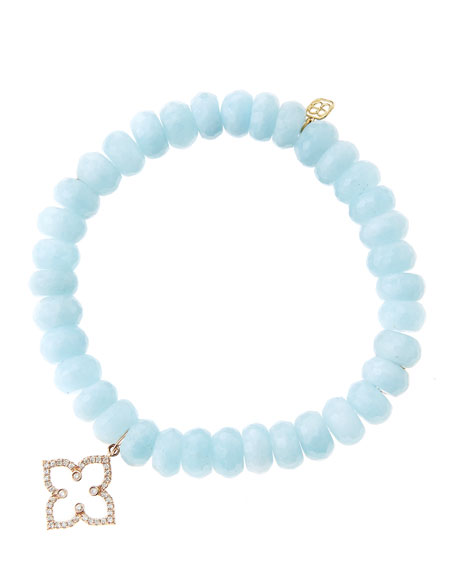 Sydney Evan 8mm Faceted Aquamarine Beaded Bracelet with