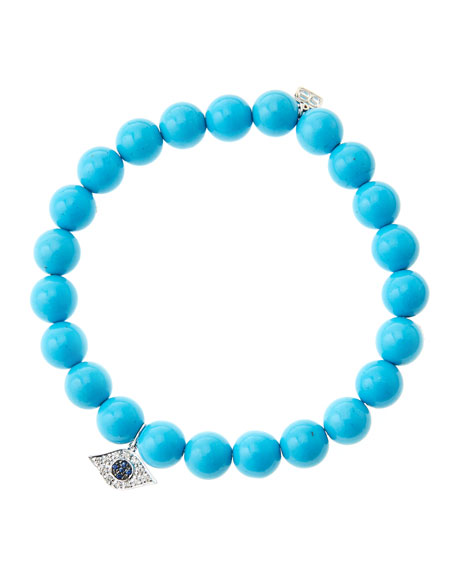 Sydney Evan 8mm Turquoise Beaded Bracelet with 14k