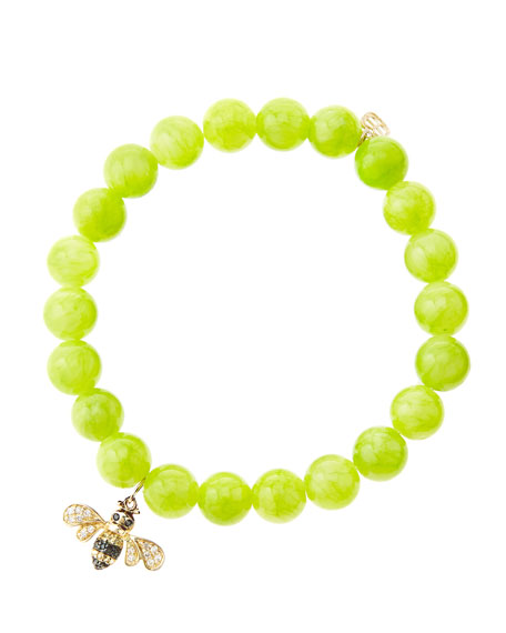 Sydney Evan 8mm Smooth Lime Jade Beaded Bracelet