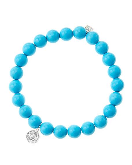 Sydney Evan 8mm Turquoise Beaded Bracelet with Mini