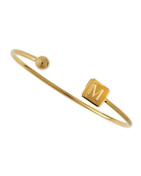 Elle Square Initial Bracelet, Gold Vermeil