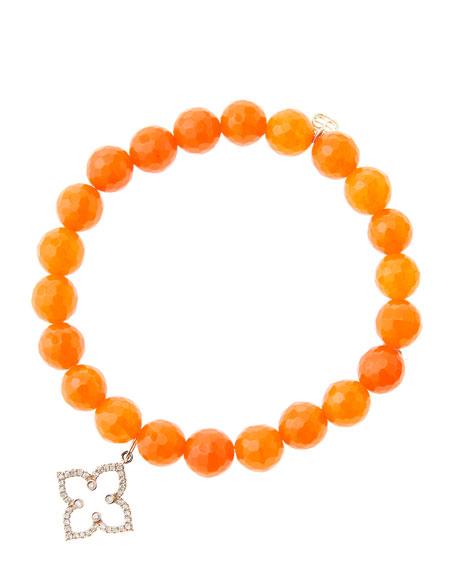 Sydney Evan 8mm Faceted Orange Agate Beaded Bracelet
