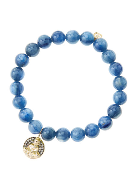 8mm Kyanite Beaded Bracelet with 14k Gold/Diamond Sitting
