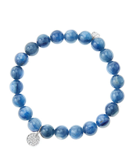 8mm Kyanite Beaded Bracelet with Mini White Gold
