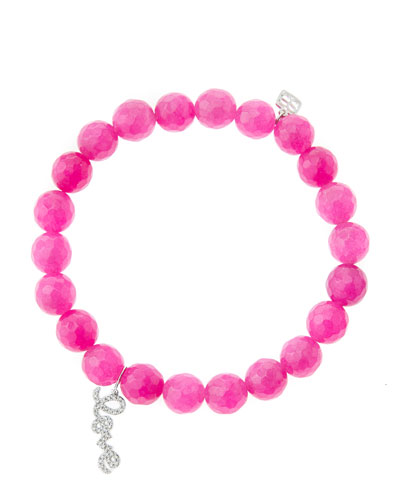 Sydney Evan 8mm Faceted Fuchsia Agate Beaded Bracelet