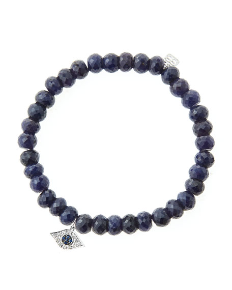 6mm Faceted Sapphire Beaded Bracelet with 14k White