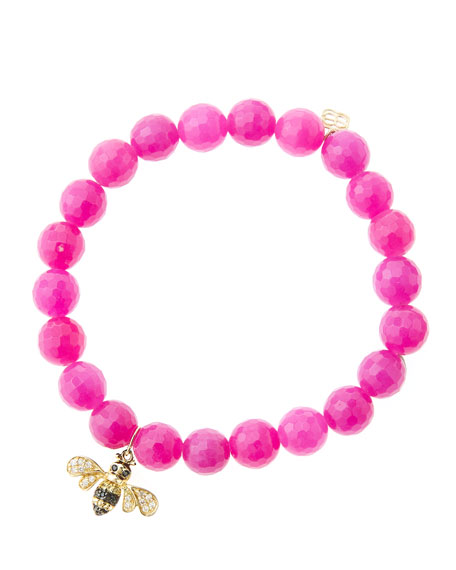 8mm Faceted Fuchsia Agate Beaded Bracelet with 14k Gold/Diamond Bee Charm (Made to Order)