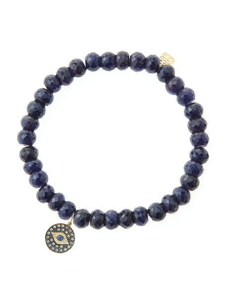6mm Faceted Sapphire Beaded Bracelet with 14k Gold/Rhodium