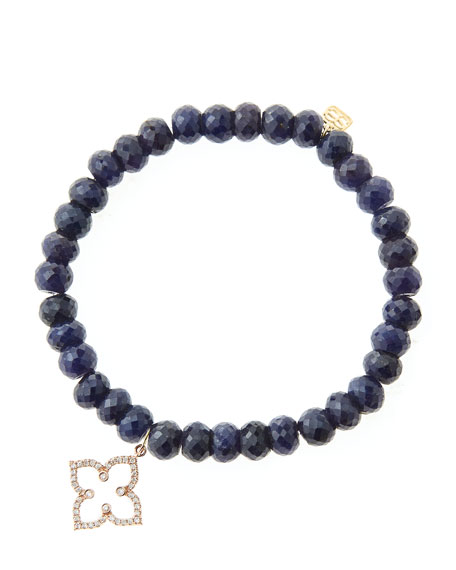 6mm Faceted Sapphire Beaded Bracelet with 14k Rose
