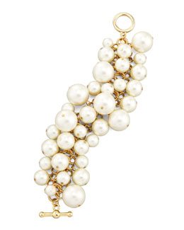 Kenneth Jay Lane Simulated Pearl Toggle Bracelet