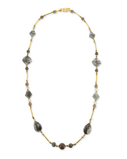 Jose & Maria Barrera Long Gray Stone Necklace, 46""