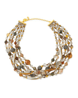 Jose & Maria Barrera Chunky Multi-Stone Necklace, Gray