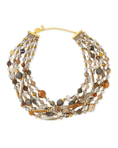 Jose & Maria Barrera Chunky Multi-Stone Necklace, Gray