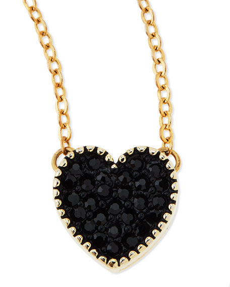 Black Crystal Heart Charm Necklace