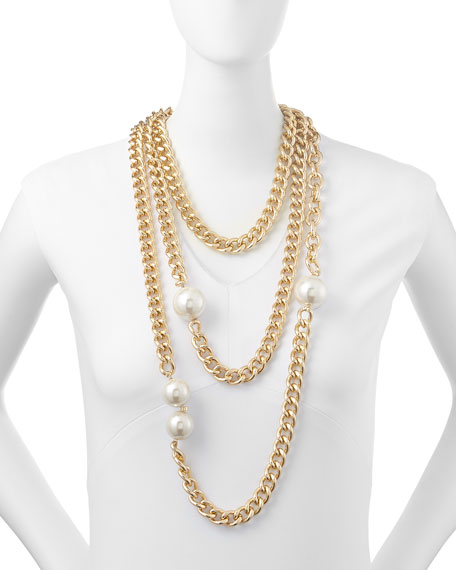 Triple Wrap Pearly Chain Necklace