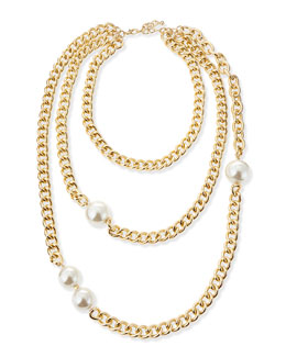 Jules Smith Triple Wrap Pearly Chain Necklace