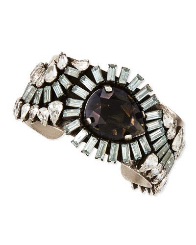 Dannijo Valentina Silvertone Multi-Crystal Cuff