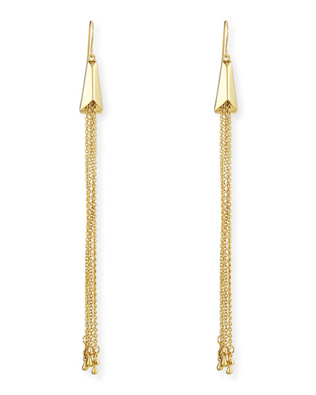 Geometric Scarab Chain Fringe Earrings