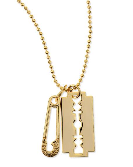 Razor Pendant Necklace, Golden
