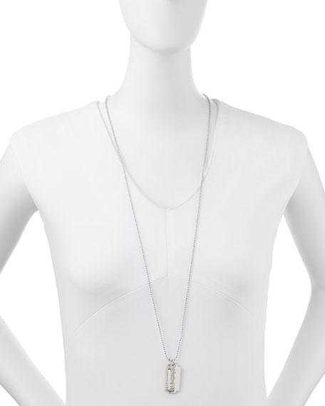 Razor Pendant Necklace, Silvertone