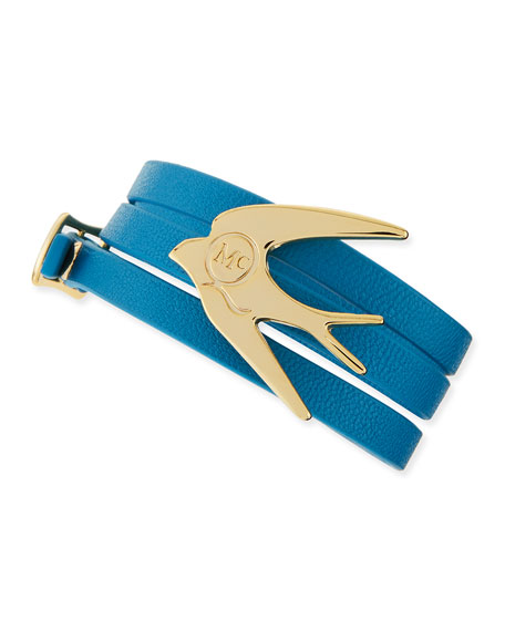 Golden Swallow Leather Wrap Bracelet, Turquoise